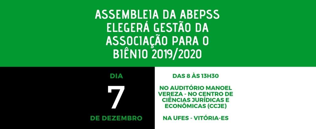 Assembleia da ABEPSS elegerá gestão para o biênio 2019/2020
