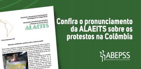 ALAEITS divulga pronunciamento sobre os protestos na Colômbia